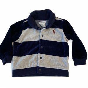 5/$20 Ralph Lauren 12 months blue/gray striped top